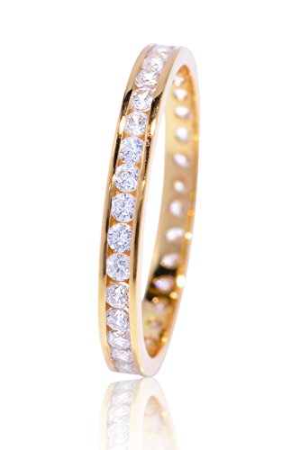 De Lelu Yellow Gold Plated Sterling Silver Channel Set Cubic Zirconia Eternity Wedding Band Ring, Size 5