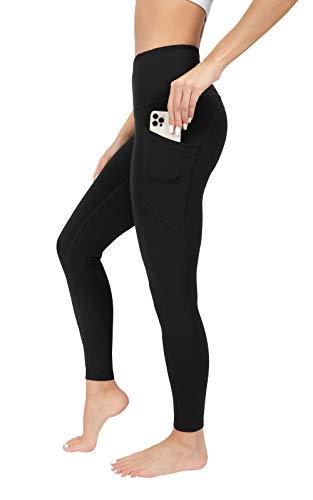 90 Degree By Reflex Power Flex Yoga Pants - High Waist Squat Proof Ankle Leggings With Pockets for Women - Black - Medium