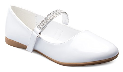 Sport White Patent Leather (OLIVIA K Girls Mary Jane Ballet Flat - Rhinestone on strap - Easy Velcro Slip On)