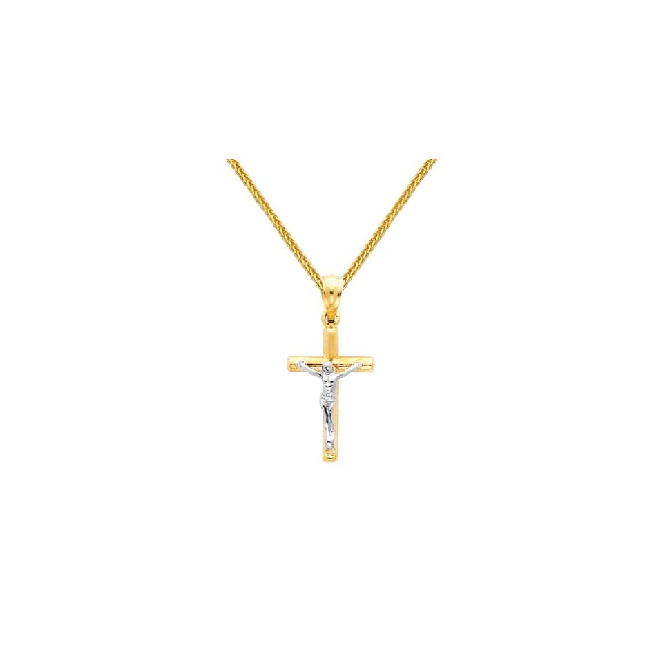 14K Yellow and White 2 Two Tone Gold Jesus Cross Religious Charm Pendant with Yellow Gold 0.8mm Braided Square Wheat Chain Necklace with Lobster Claw Clasp   Pendant Necklace Combination (Different Chain Lengths Available)