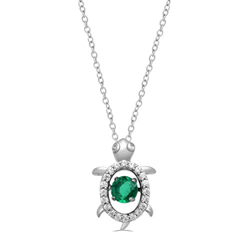 """Jewelili Sterling Silver Dancing Green Quartz with Created White Sapphire Whimsical Turtle Necklace Pendant, 18"""" Chain"""