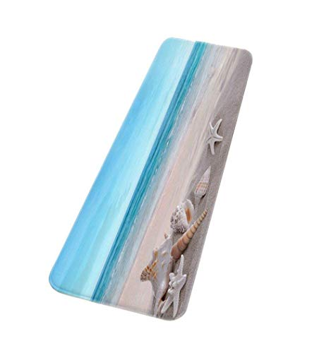 ROCOSYTR Kitchen Rug Runner Doormat Blue Ocean Starfish Conch Shell Holiday Beach Seaside Scenery Nautical Theme Flannel Fabric Anti-Skid Bathroom Mats Rugs for Carpet -