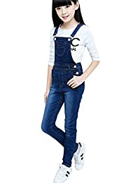 LAVIQK 4-14 Years Big Girls Overalls Kids Stretchy Jeans Cotton Suspender Denim Bib Jumpsuit Blue Rompers