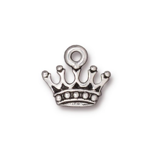 Fine Silver Plated Lead-Free Pewter Princess Crown Charm 13mm (1) (Crown Plated Charms)
