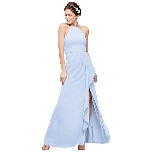 High-Neck Chiffon Bridesmaid Dress with Cascade Style F20014, Ice Blue, 8