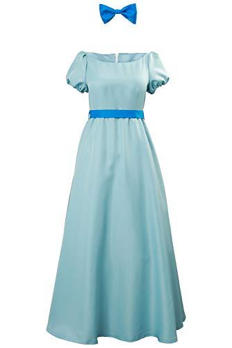 Halloween Fancy Dress Costumes For Adults (Wendy Cosplay Dress Costume Halloween Princess Fancy Maxi Blue Dress for Women)