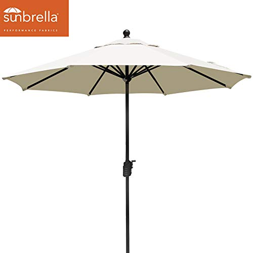 EliteShade Sunbrella 9Ft Market Umbrella Patio Outdoor Table Umbrella with Ventilation (Sunbrella White)