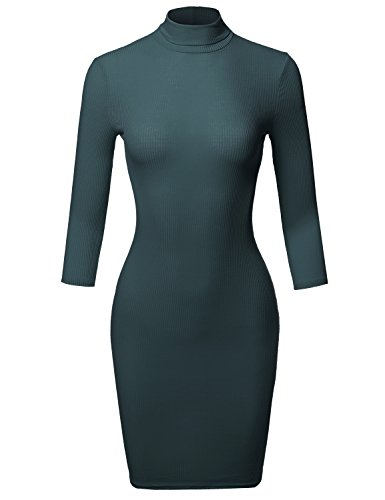 casual-3-4-sleeve-turtleneck-ribbed-mini-body-con-dress-peacock-size-s