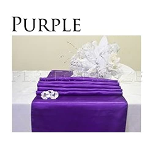 Table decorations for wedding reception amazon perfectmaze 12x108 inch satin table runner wedding party decoration 20 colors purple junglespirit Gallery