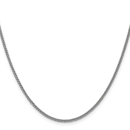 14k White Gold 2mm Polished Wheat Chain Necklace 24'' by Venture Jewelers