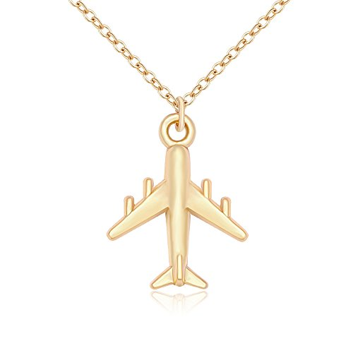 - NOUMANDA Gold Plated Airplane Pendant Necklace Simple Charm Pendant Jewelry for Women