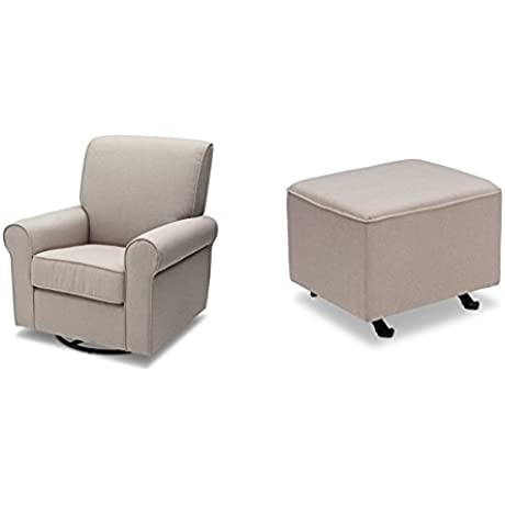 Delta Furniture Avery Upholstered Glider With Gliding Ottoman Taupe