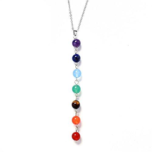 Jewelry,7 Chakra Lava Stone Diffuser Necklace - Meditation,Grounding,Healing,Genuine Stones,Natural,Essential Oils,Self Confidence,Holistic,Aromatherapy(Clean Purple Orange)