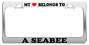 MY HEART BELONGS TO A SEABEE License Plate Frame Car Truck Accessory Gift from Grand General Accessories Manufacturing
