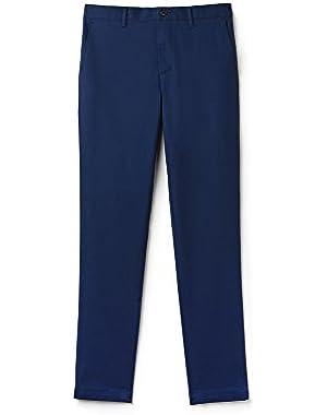 Lacoste Men's Men's Stretch Cotton Blue Chino Pants in Size W34 (44 EU) Navy