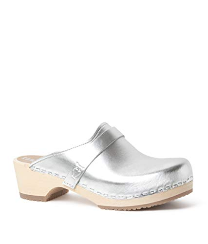 Sandgrens Swedish Low Heel Wooden Clog Mules for Women | Tokyo Metallic Silver, EU 41