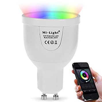 5W GU10 Bombillas LED Inteligentes A60(A19) 12 leds SMD 5730 Sensor de infrarrojos WIFI Control de luz Regulable Control Remoto Color de: Amazon.es: Hogar