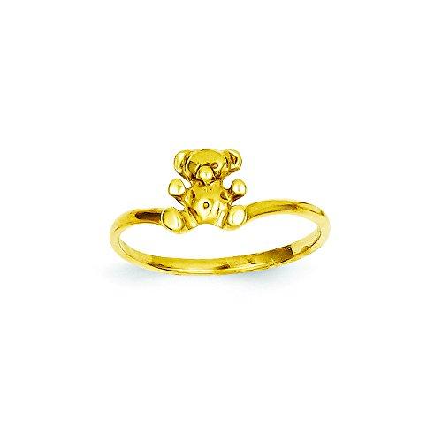 Bear Ring Teddy 14k (14k Childs Polished Teddy Bear Ring, Size 3)