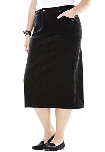 (Woman Within Plus Size Corduroy Skirt - Black, 24 W)