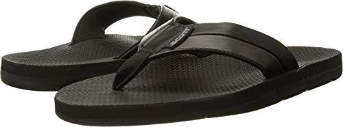 Scott Hawaii Mens Size 12 Black Vegan Leather Sandals | Reef Walking Flip Flops for Men | Neoprene Comfort Waterproof Shoes | Guarantee All Day Arch Support Palaole | Comfortable Slipper