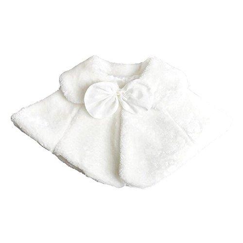 Dastan Sweet Girls Princess Faux Fur Cape Shoulder Coat - Bow Tie- 1-14 (Faux Fur Bow)