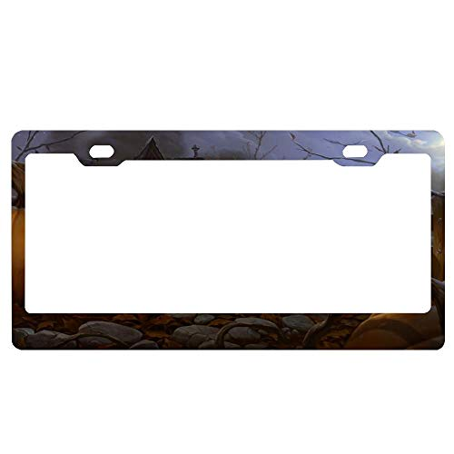 Halloween Trick Or Treaters Customizable License Plate Frame for Women/Men, Slim License Tag Holder with Screw Caps, Auto Car Plate Frame for US Standard -