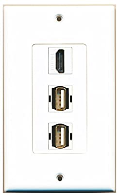 RiteAV - 1 Port HDMI 2 Port USB A-A Decorative Wall Plate