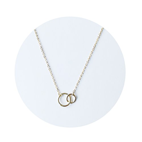 Hammered Ring Necklace (Fettero Two Sisters Necklace Simple Dainty 14K Gold Fill Hammered Two Circle Linked Rings Layering Pendant Necklace UNITY LINK Infinity Double interlocking Circles Necklace)