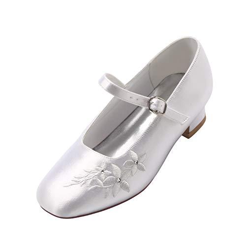 ERIJUNOR E1417 White Communion Shoes Comfortable Flower Girls Dressy Shoes Dyeable Satin Size 1