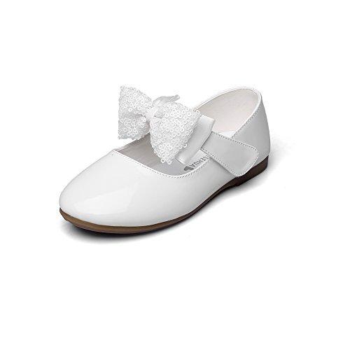 Maxu Girls PU Fashion Dress Flat,White,Toddler,5.5M ()