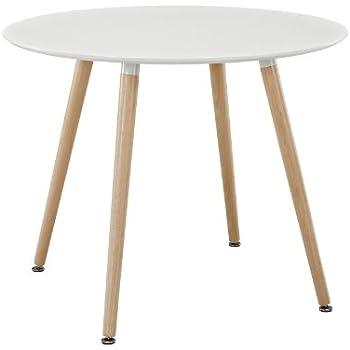 Amazoncom Modway Track Circular Dining Table In White Tables - Circular dining table with extension