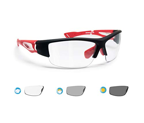 Bertoni Sports Sunglasses Photochromic for Men Women Cycling Running Driving Fishing Golf Baseball Glasses - Matt Black/Red - Photochromic Lenses
