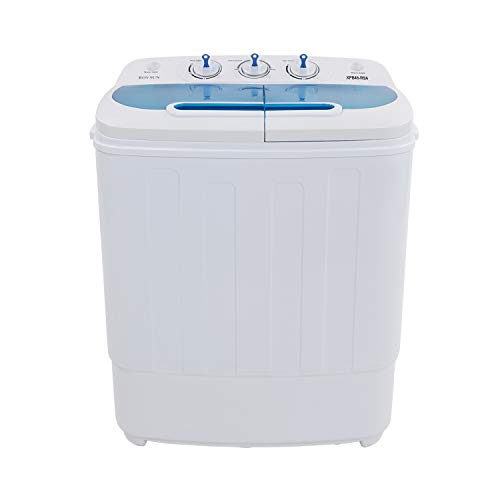 ROVSUN Portable Washing Machine 13.4LBS Capacity with Twin Tub,Electric Compact Mini Washer, Spin Cycle w/Hose, Great for RV Camping Dorms College Rooms, 23.2''L x 13.9''W x 26.5