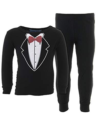 Dead Tired Baby Boys' Tuxedo Black Cotton Pajamas -