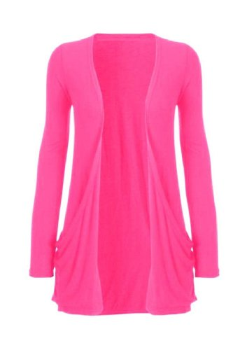Hot Hanger Ladies Plus Size Pocket Long Sleeve Cardigan 16-26 (24-26 XXXL, Cerise)