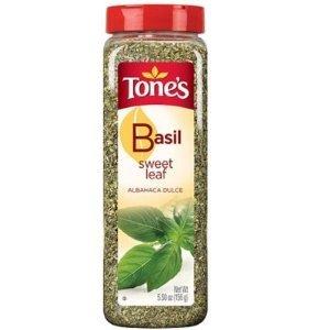 Tone's Sweet Basil Leaf - 5.5 oz. shaker (4 Pack)