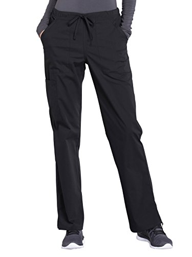 CHEROKEE Workwear Professionals WW160 Women's Mid Rise, Straight Leg Drawstring Pant, Black, X-Large Petite