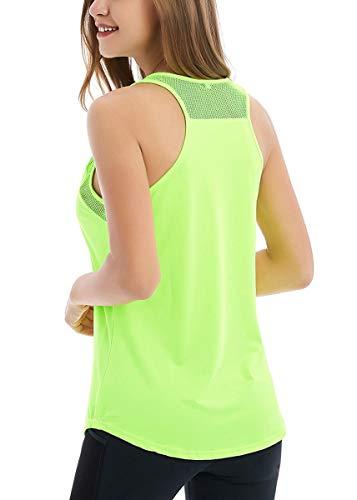 Active Sleeveless Top - Fihapyli Women's Backless Mesh Yoga Tanks Sport Workout Tank Tops Sleeveless Breathable Active Shirts Workout Shirts Loose Fit Yoga Tops Workout Tops for Women Exercise Tanks Running Shirts Green XL