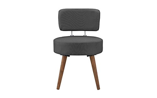Mid-Century Modern Accent Living Room, Office Chair with Wooden Legs (Dark Grey)
