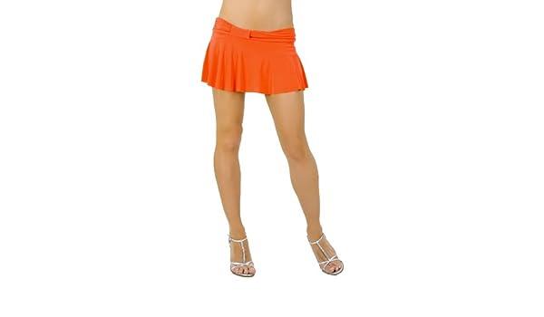 5995f2849 Amazon.com: Sexy Short Mini Skirt w/ Cute Knotted Waistband fron Hot Fash  Skirts - SPREE Orange: Clothing
