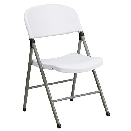 White Plastic Folding Chairs.Flash Furniture Hercules Series 330 Lb Capacity White Plastic Folding Chair With Gray Frame