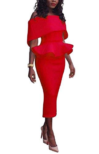 Coolred-femmes Taille Plus Moulante Travail Un Mot Robe Partie Col Falbala Rouge
