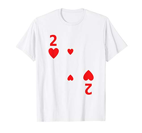 Two of Hearts Shirt poker playing card Halloween costume ()