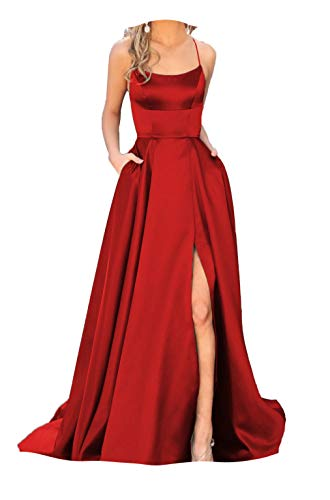 (Fanciest Women's Halter Slit Satin Prom Dresses Long Backless Evening Formal Gowns Red US2)