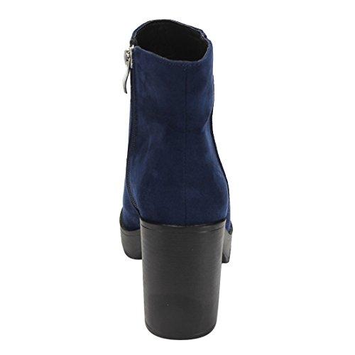 Beston Ei89 Scarpe Da Donna Con Cerniera Laterale Impilate Stivaletti Tacco Alto Alla Caviglia Blu Scuro