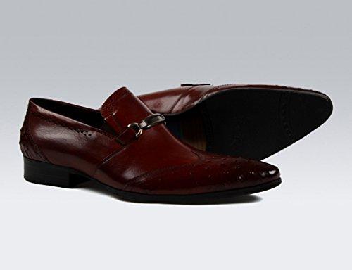 Puntiagudos para Color Brown Negocios Hombres UK6 EU39 Tamaño Formal Ropa Piel de Hombre Zapatos de Clásicos Red Boda para Zapatos brown Red de Zapatos Cuero Hq8waT