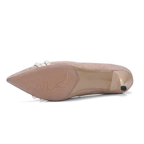 Nove Sette Scarpe In Pelle Scamosciata Donna A Punta Tacco A Spillo Perle Decorate A Mano Sexy Pompe Scarpe Albicocca