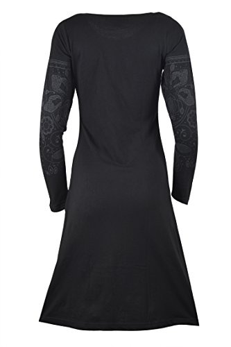 Robe longue à manches longues avec imprimé et impression manches. (BLACK-TC-TDR1006-S)
