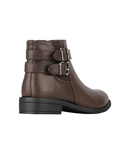 KRISP Damen Stiefeletten Boots mit Blockabsatz & Schnalle Braun (5586)