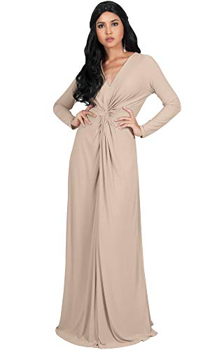 (KOH KOH Petite Womens Plus Size Womens Long Sleeve Sleeves V-Neck Flowy Cocktail Formal Fall Winter Evening Abaya Muslim Gown Gowns Maxi Dress Dresses, Tan Light Brown S 4-6)